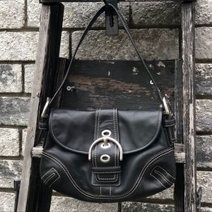 Coach Soho Flap Black Leather Shoulder Bag. Mint